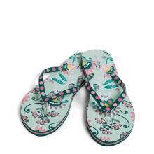 Vera Bradley Flip Flops Sandles Mint Flowers Small