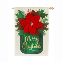 Poinsettia Mason Jar House Linen Flag