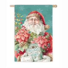 Christmas Magic Santa House Suede Flag
