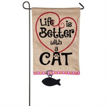 Life is Better with Cat Garden Burlap Flag