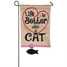 Life is Better with Cat Garden Burlap Flag