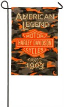 Harley Davidson, CAMO Bar and Shield, Burlap Garden Flag