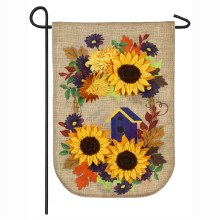 Oval Autumn Wreath Garden Burlap Flag