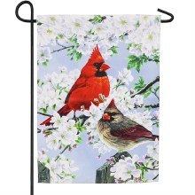 Glorious Morning Cardinals Garden Suede Flag