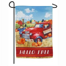 Hello Fall Truck Garden Suede Flag