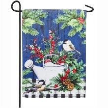 Winter Watering Can Garden Suede Flag