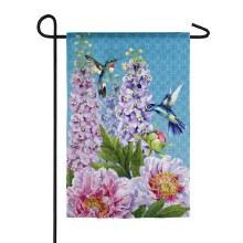 Peonies & Hummingbirds Garden Suede Flag