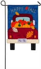Fall Yall Pickup Truck Garden Applique Flag
