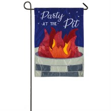 Party at the Pit Garden Applique Flag