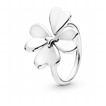 Clover open ring in sterling s