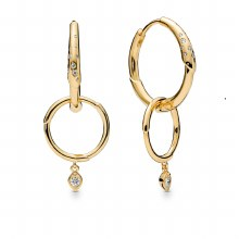 Flower stem hoop earrings in P
