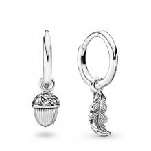 Pandora Acorn & Leaf Hoop Earrings