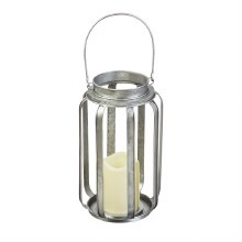 Galvanized Battery Powered Lantern with LED Candle