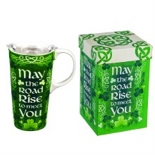 Ceramic Travel Cup, 17 OZ. ,w/Box and Tritan Lid, Celtic Memories