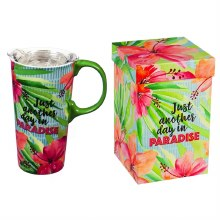 Ceramic Travel Cup, 17 OZ. ,w/box and Tritan Lid, Just Another Day in Paradise
