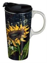 Ceramic Travel Cup w/metallic accent and box, 17 OZ., Sunflower Splendor