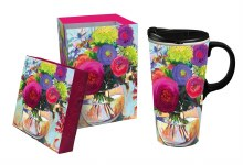 Ceramic Travel Cup w/box, 17 OZ., Flower Shop