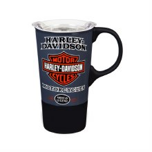 Ceramic Travel Cup with Silicone Handle and Base, H-D American Legend