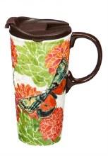Embossed Ceramic Travel Cup, 17 OZ. w/Box, Summer Garden