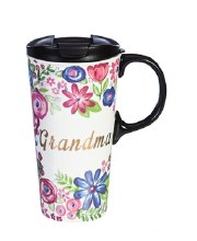 Ceramic Travel Cup w/ metallic accents, 17 OZ w/Box, Grandma