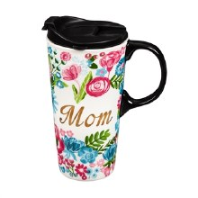Ceramic Travel Cup w/ metallic accents, 17 OZ w/Box, Mom