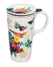 Double Wall Ceramic Cup w/ Infuser & Lid, 12 OZ., Brilliant Bouquet