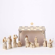 Jim Shore White Woodlnd Nativity Set