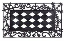 Sassafras Decorative Mat Tray Snowflakes Black 18x30