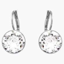 Swarovski Bella Earrings, White, Rhodium plated