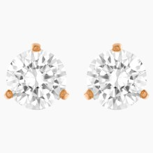 Swarovski Solitaire Pierced Earrings, White, Rose-gold tone plated