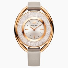 Swarovski Crystalline Oval Watch, Leather strap, Gray, Rose-gold tone PVD