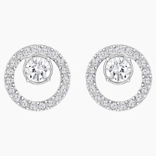 Swarovski Creativity Circle Pierced Earrings, White, Rhodium plated