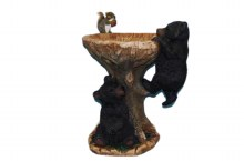 Black Bear Bird Bath with Squirrel