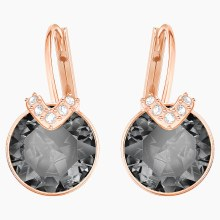 Swarovski Bella V Pierced Earrings, Gray, Rose-gold tone plated
