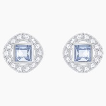 Swarovski Angelic Square Pierced Earrings, Blue, Rhodium plated