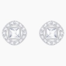 Swarovski Angelic Square Pierced Earrings, White, Rhodium plated