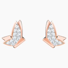 Swarovski Lilia Pierced Earrings, White, Rose-gold tone plated