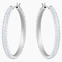 Swarovski Stone Hoop Pierced Earrings, White, Rhodium plated