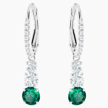 Swarovski Attract Trilogy Round Pierced Earrings, Green, Rhodium plated