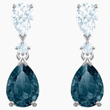 Swarovski Vintage Pierced Earrings, Blue, Rhodium plated
