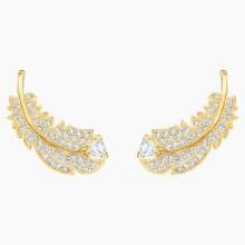Swarovski Nice Stud Pierced Earrings, White, Gold-tone plated