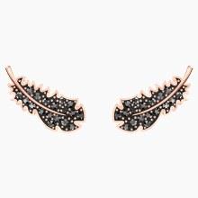 Swarovski Naughty Pierced Earrings, Black, Rose-gold tone plated