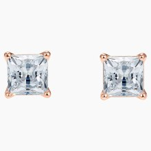 Swarovski Attract Pierced Earrings, White, Rose-gold tone plated