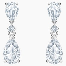 Swarovski Palace Drop Pierced Earrings, White, Rhodium plated