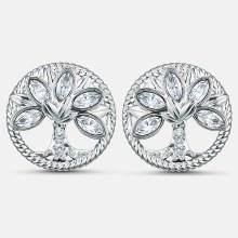 Swarovski Symbolic Tree of Life Stud Pierced Earrings, White, Rhodium plated