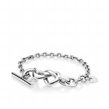 Knotted hearts silver T-bar br