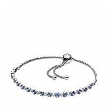 Pandora Sparkle Slider Bracelet, Blue Crystal & Clear CZ