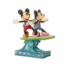 Jim Shore Mickey and Minnie Surfboard
