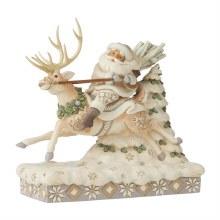 Jim Shore Heartwood Creek Woodland Santa Riding Reindeer