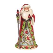 Jim Shore Heartwood Creek Santa With Cardinal Scene